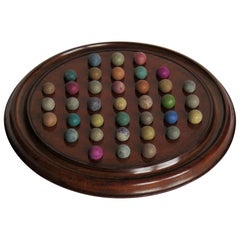 Marble Solitaire Game Mahogany Board 37 Handmade Clay /Stone Marbles