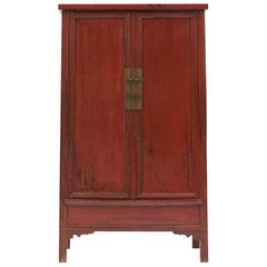 Mid-19th Century Chinese Red Lacquered Wedding Cabinet