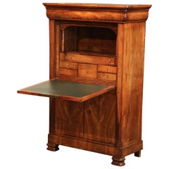 Mid-19th Century French Louis Philippe Carved Walnut Secretary Cabinet