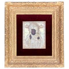 Mid-19th Century Silver Russian Icon