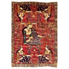 Mid-20th Century Handmade Pictorial Persian Shiraz Room Size Accent Folk Rug
