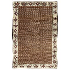Mid-20th Century Handmade Turkish Room Size Carpet in Brown and Cream