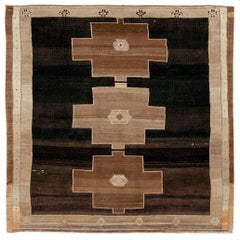 Mid-20th Century Handmade Turkish Square Room Size Carpet in Black and Brown