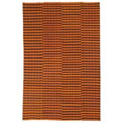 Mid-20th Century Orange and Black Turkish Flat-Weave Kilim Room Size Accent Rug
