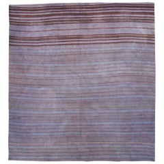 Mid-20th Century Persian Flat-Weave Kilim Square Accent Rug in Periwinkle