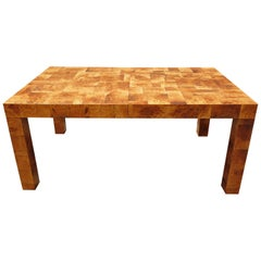 Midcentury Burl and Patchwork Dining Table by Paul Evans