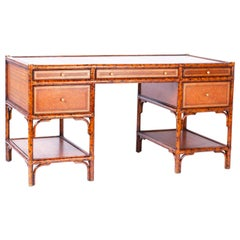 Midcentury Faux Tortoise Leather Topped Desk by Maitland-Smith