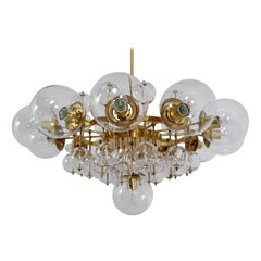 Midcentury Hotel Chandelier with Brass Fixture and Hand-Blowed Glass Globes