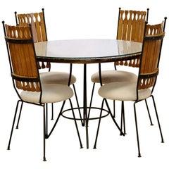 Mid-Century Modern Arthur Umanoff Dinette Set 4 Side Chairs Wood Table Iron