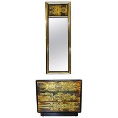 Mid-Century Modern Bernard Rohne Mastercraft Acid Etched Mirror & Cabinet, 1970s