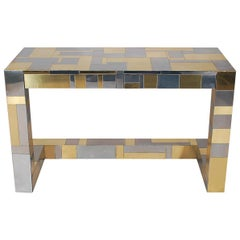 Mid-Century Modern Brass and Chrome Cityscape Desk by Paul Evans for Directional