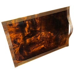 Mid-Century Modern Brass and Fake Tortoise Lucite Serving Tray, circa 1960