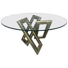 Mid-Century Modern Brass and Glass Coffee Table