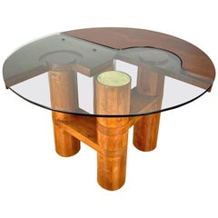 Mid-Century Modern Center Hall-Dining Walnut Table by Nerone & Patuzzi NP Group