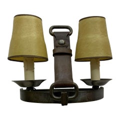 "Mid-Century Modern French Leather and Steel ""Stirrup"" Sconces, Adnet Style"