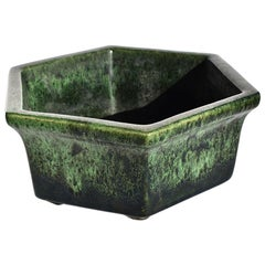 Mid-Century Modern Green and Black Geometric Ombré Octagonal Planter by Haeger