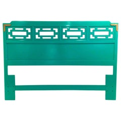 Mid-Century Modern Hollywood Glam Lacquered Green Wood Queen Fretwork Headboard