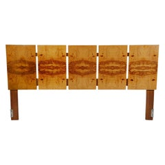 Mid-Century Modern King Size Headboard Attributed to Milo Baughman in Olive Burl