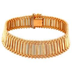 Mid-Century Modern Link Yellow Gold Bracelet Fine Estate Jewelry