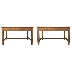 Mid-Century Modern Pair of Pine Desk with Two Drawers