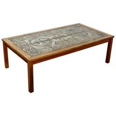 Mid-Century Modern Rectangular Tile Topped Wood Coffee Table, 1960s, Denmark