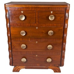 Mid-Century Modern Teak and Brass Chest of Drawers