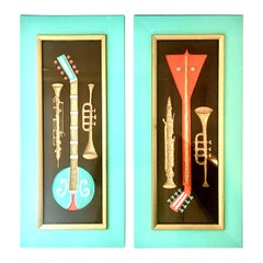 Midcentury Pair of Musical Instrument Shadow Box Painted Art by, Turner