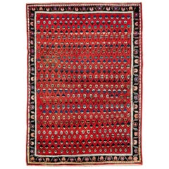 Midcentury Persian Folk Handmade Throw Rug in Red
