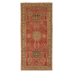 Mid-century Samarkand Red and Brown Handwoven Wool Rug