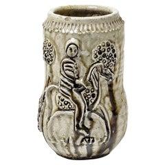 Midcentury Stoneware Ceramic Vase Horse Decoration 1946 Jean Lerat La Borne
