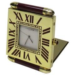 Mid Century Vintage Cartier Paris French Quartz Quadrant Traveling Alarm Clock