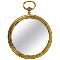 Midcentury Brass Pocket Watch Wall Mirror, Attributed to Piero Fornasetti, Italy