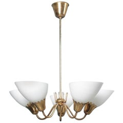 Midcentury Chandelier in Brass with Glass Shades, Swedish Modern, 1950s
