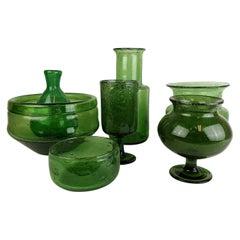 Midcentury Collection of Seven Green Vases by Erik Hoglund