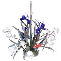 Midcentury Copper and Enamel Floral Chandelier