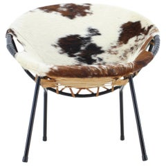 """Midcentury Cowhide Leather """"Circle Chair"""" Designed by Lusch Erzeugnis, 1960s"""