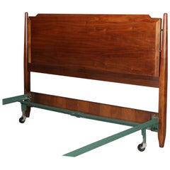 Midcentury Danish Modern Walnut Full/Double Headboard & Frame, Mid-20th Century