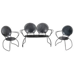 Midcentury French Metal and Leather Settee and Chairs