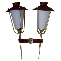 Midcentury French Red and Brass Wall Sconces by Maison Arlus