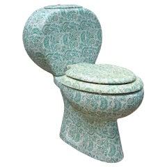 Midcentury Hand Painted Richard Ginori Porcelain Commode, Toilet, Water Closet