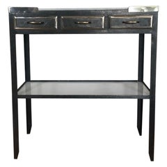 Midcentury Industrial French Milk Glass Topped Metal Console with Three Drawers