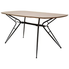 Midcentury Italian Black and White Dining Table Attributed to Ico Parisi, 1958