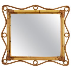 Franco Albini Style Bamboo and Rattan Rectangular Mirror, Italy, 1960s