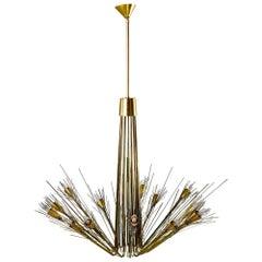 Midcentury Large Brutalist Style Brass 14-Light Chandelier