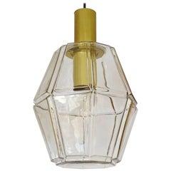 Large Limburg Polyhedral Glass Brass Chandelier Pendant Light ,  Gio Ponti Era