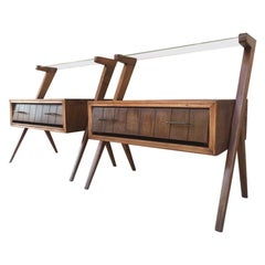 Mid-Century Modern Danish Pair of Nightstands with Drawer and One Glass Shelve