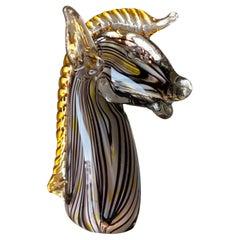 Midcentury Murano Blown Art Glass Horse Sculpture, Cenedese Sumerso, Opaline