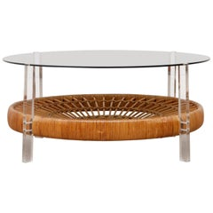 Midcentury Plexiglass, Rattan and Smoked Glass Coffee Table