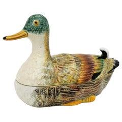 Midcentury Portuguese Majolica Ceramic Duck Tureen