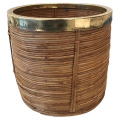 Midcentury Rattan Bamboo and Brass Paper Bin, Cachepots or Planter, 1970s